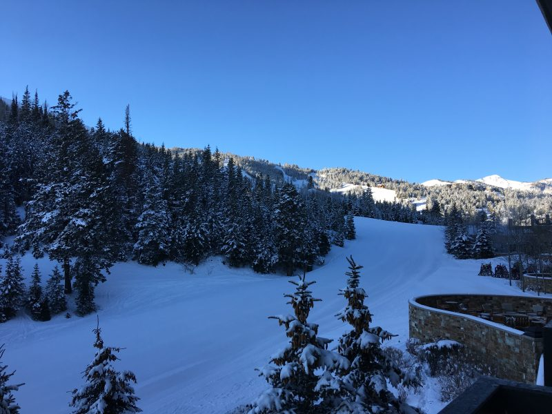 View of the slopes in Deer Valley on a sunny morning from a window at The St. Regis Deer Valley